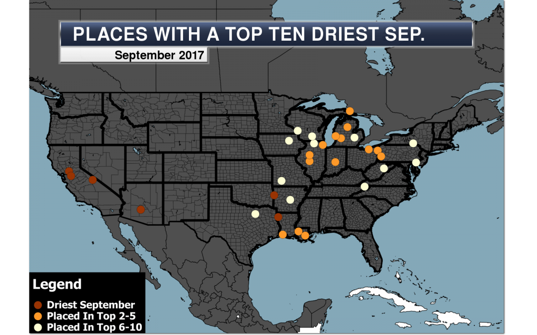 Places with a top 10 driest September 2017 on record