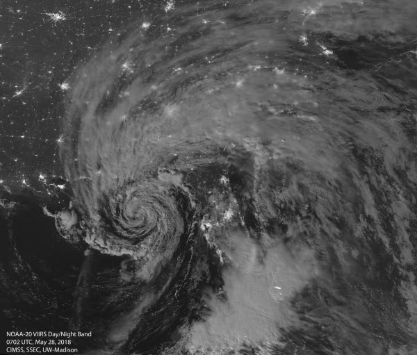 Satellite image of Subtropical Storm Alberto on May 28th, 2018