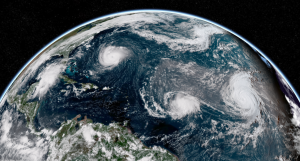 visible geocolor satellite of atlantic on september 11 2018 showing florence helene and isaac