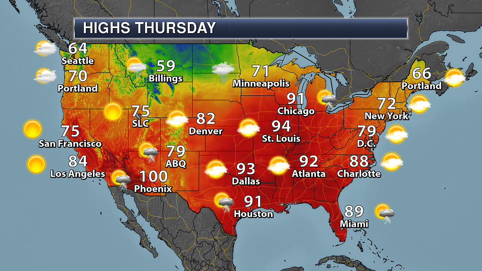 Thursday National Weather Outlook – Heavy Rain And Severe Weather Threats