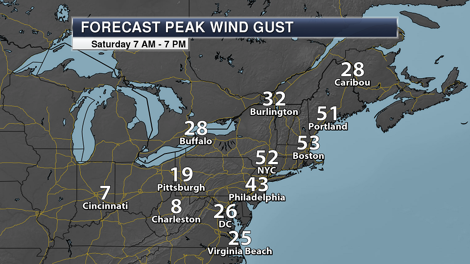Saturday National Weather Outlook – High Wind Potential In The Northeast