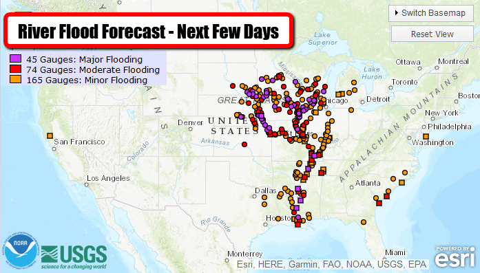 Historic Flooding Continues In The Central U.S. – Monday's National Weather Outlook For March 18, 2019