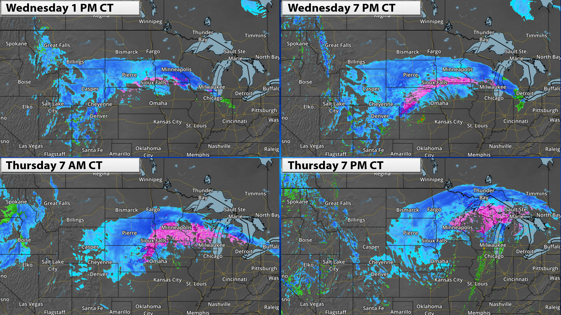winter weather graphics simulated radar forecast of April 2019 blizzard with time stamps