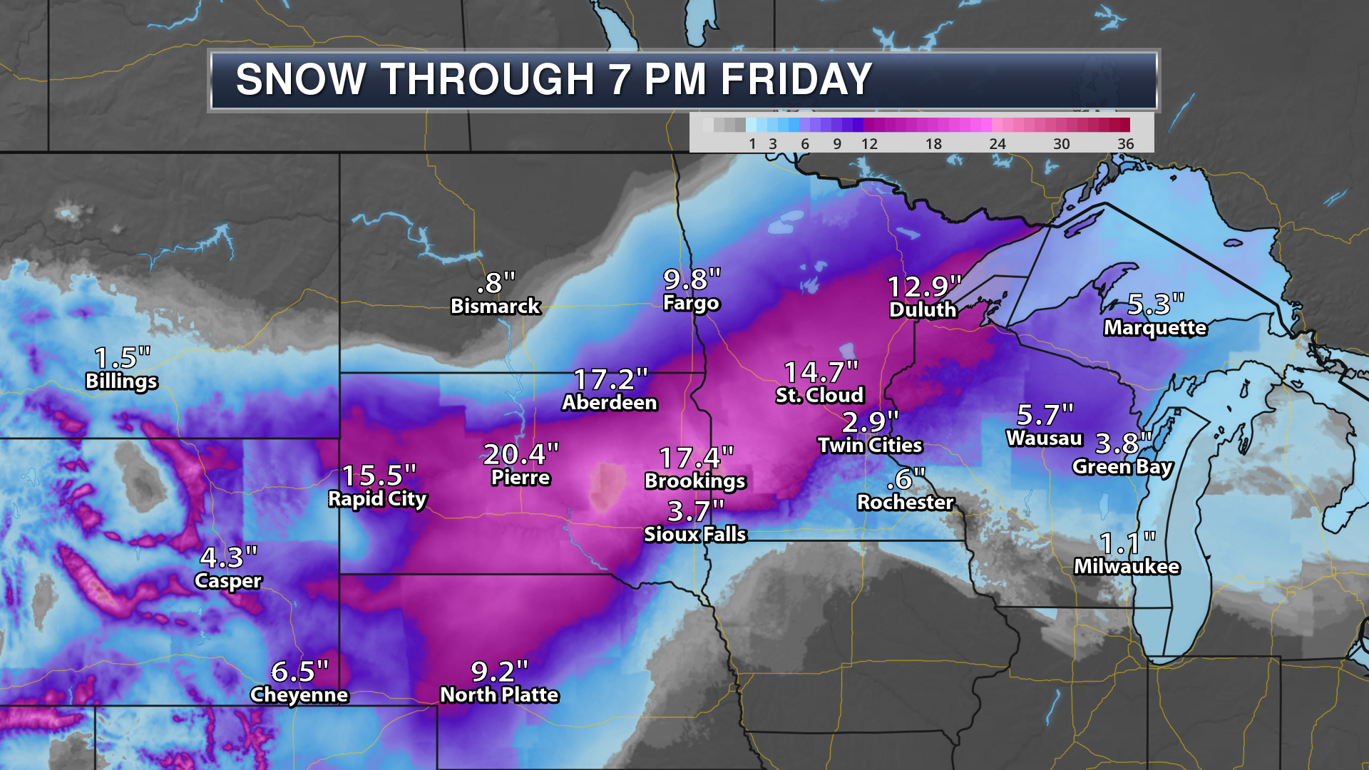 winter weather graphics 3 day snow forecast graphic from April 2019 blizzard in northern plains and Midwest