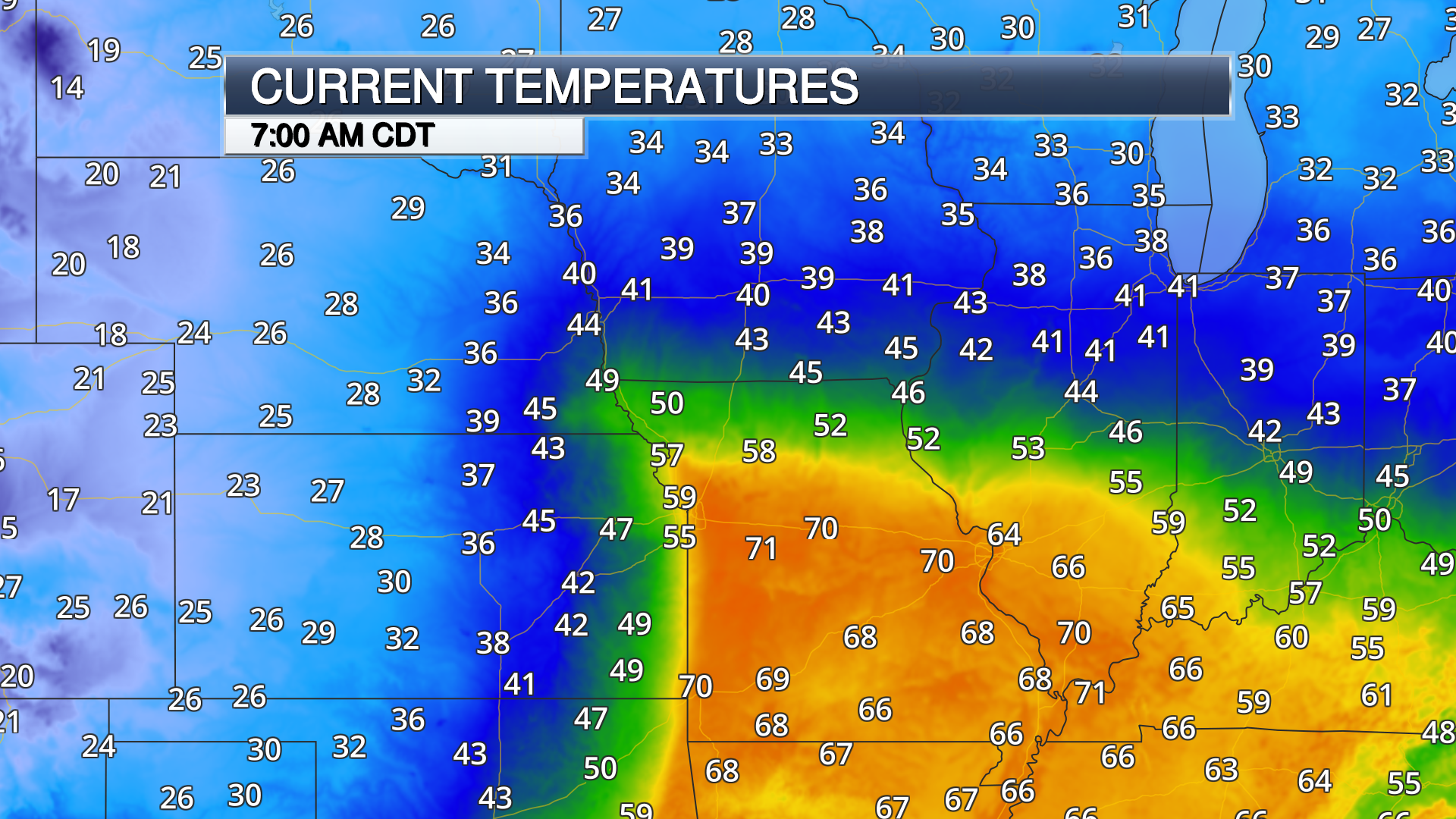 current temperature weather map with color contour from April 2019 blizzard