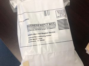 NWS Weather Balloon mailing package from national weather service