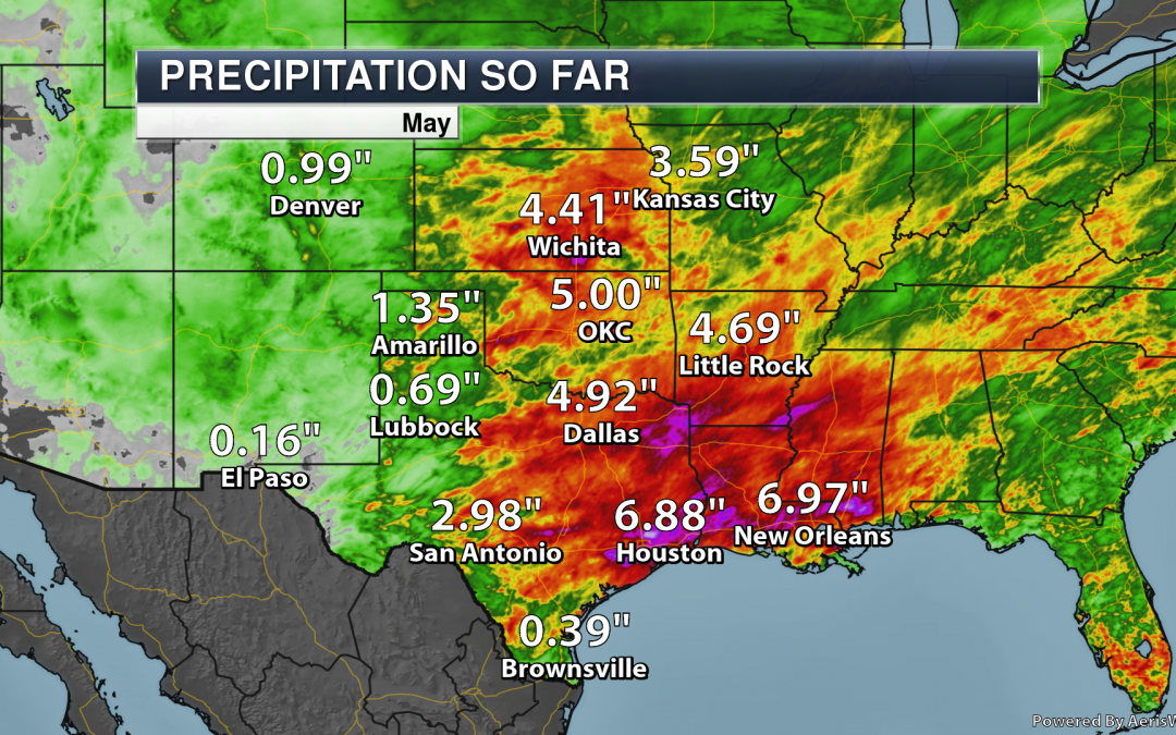Heavy Rain Over Several Days Led To 12″+ Totals Across Parts Of The South