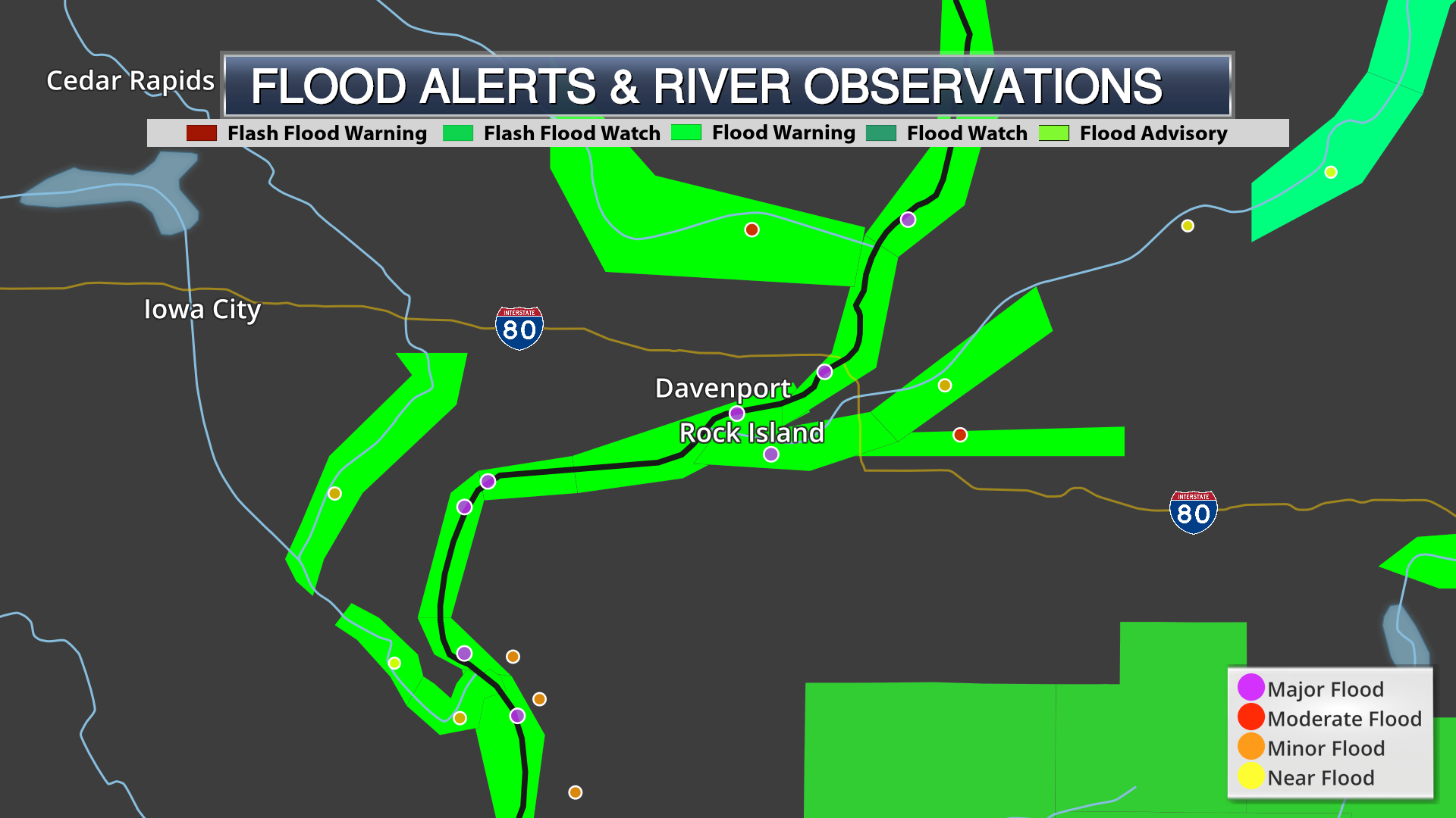 Weather graphic showing flood stage river observations with flood warnings on dark map in Quad Cities Iowa and Illinois.