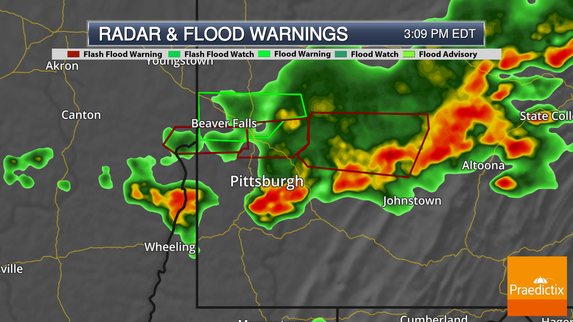Weather graphic of radar and flood warnings in Pennsylvania with legend on May 29, 2019.