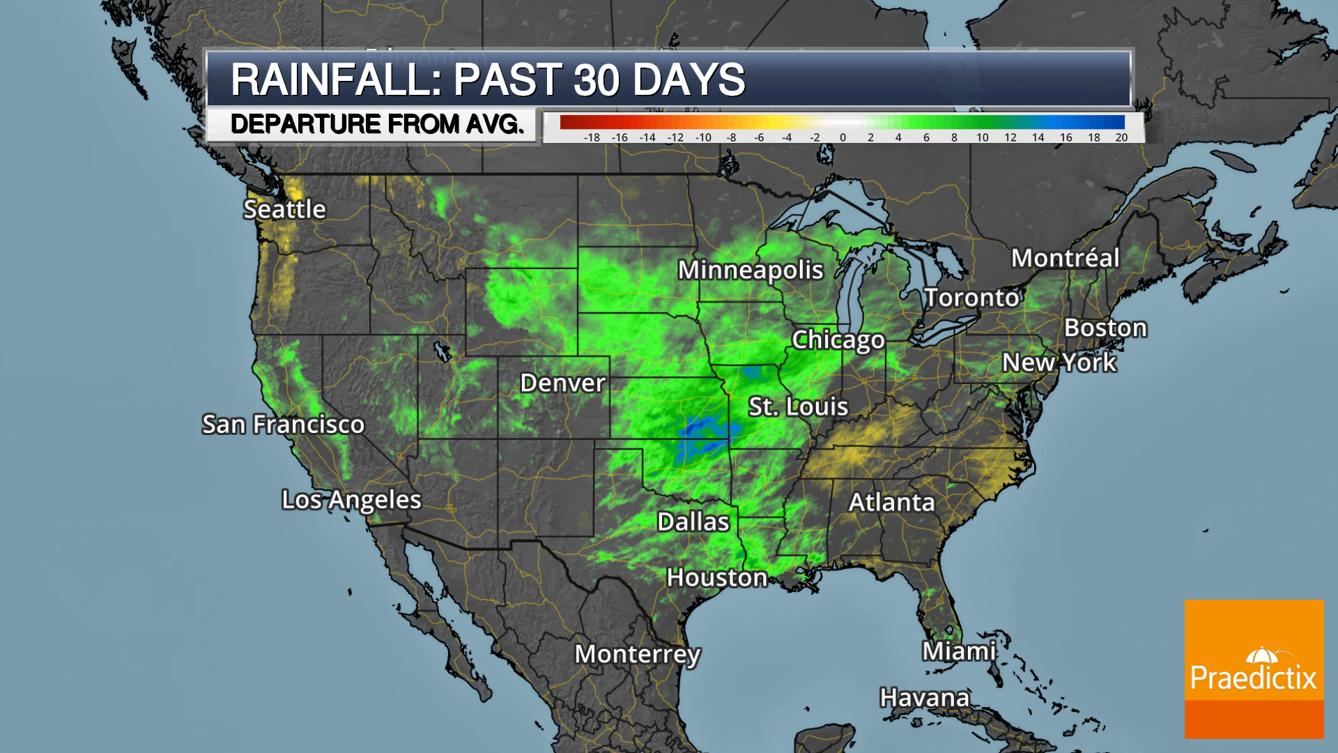 Weather map of departure from average 30 day rain in United States with legend.