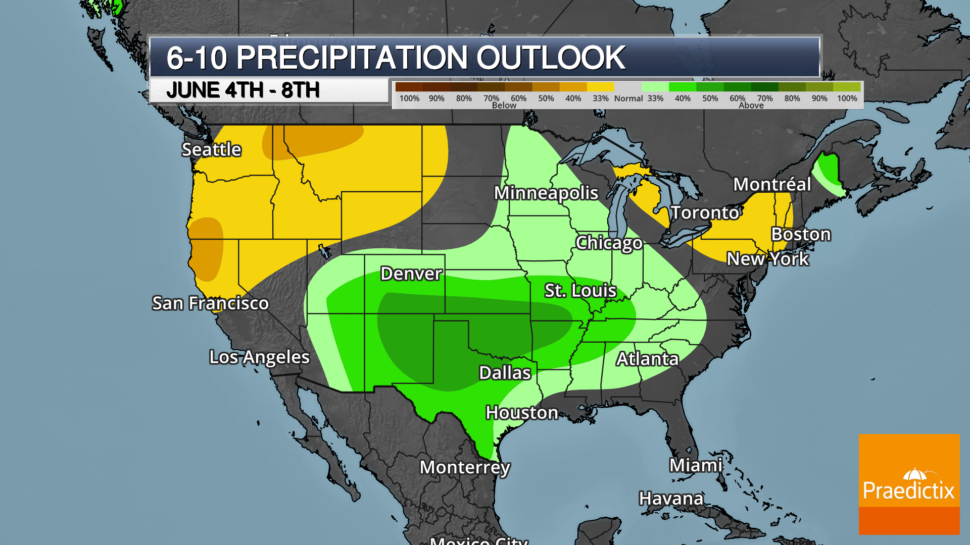 Weather graphic of Climate Prediction Center long-term precipitation outlook with legend on dark map.