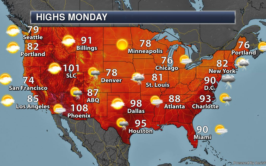 Hot Weather Subsides In The East – Monday's National Weather Outlook For July 22nd, 2019