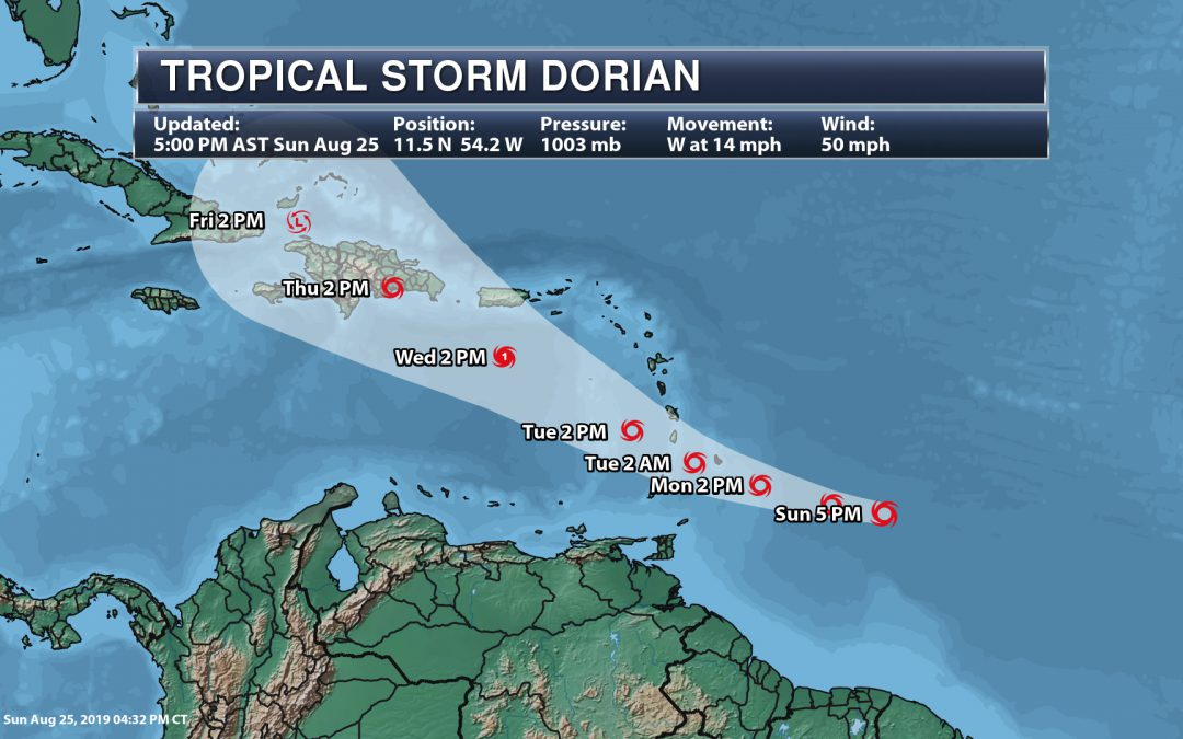Update On Tropical Storm Dorian – National Weather Outlook For Monday, August 26th, 2019