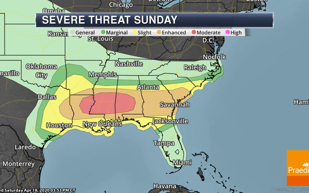 Moderate Severe Risk In The Deep South Sunday – Weather Outlook for Sunday, April 19, 2020