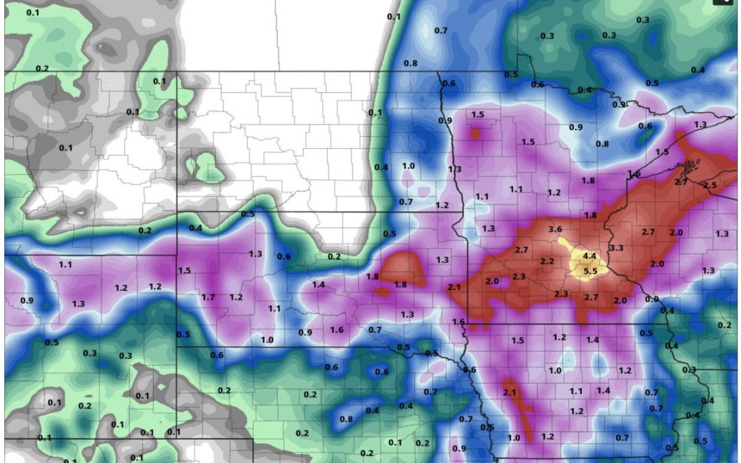 Record Heat Upper Midwest – Now Come 1-3″ Rains by Friday